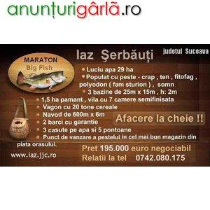Imagine anunţ Vand iaz Serbauti + vila + pamant - Afacere la cheie