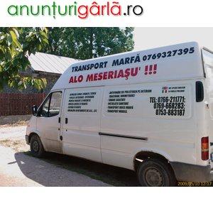 Imagine anunţ TRANSPORT MOBILA, TRANSLOCARI FIRME, ORICE MARFA