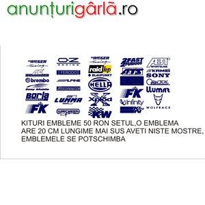 Imagine anunţ embleme auto, kit-uri embleme tuning autocolant oracal