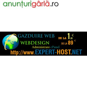 Imagine anunţ Gazduire web de la 1 euro si web design.