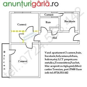 Imagine anunţ Vand apartament 2 camere in Sibiu 37600 Euro