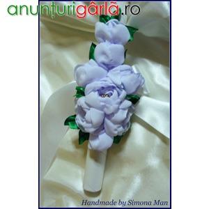Imagine anunţ Aranjament cu flori textile realizate handmade, pentru lumanare botez baietei