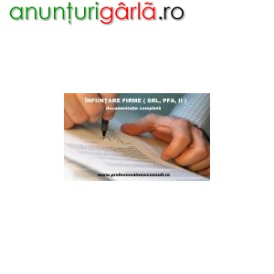 Imagine anunţ Infiintare Societati Comerciale (S.R.L., S.A.) Infiintare Persoane Fizice, Intreprinderi Individuale ( PF, II) Descrierea