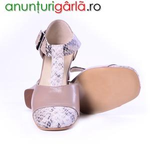 Imagine anunţ Sandale dama capucino piton, piele naturala, piele intoarsa