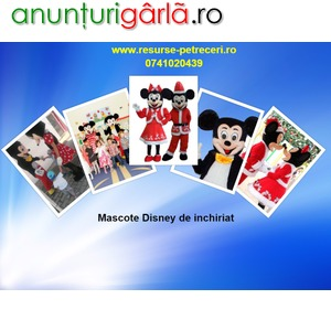 Imagine anunţ mascote disney pentru petreceri si evenimente