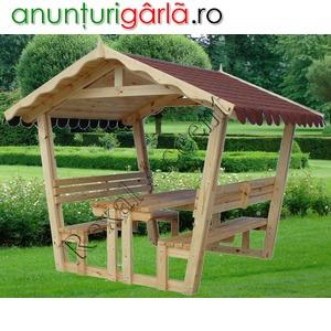 Imagine anunţ FOISOR din lemn cu masa si scaune (bancute) model REXAL