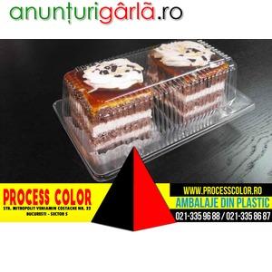 Imagine anunţ Caserole din plastic compartimentate pentru doua prajituri caramel Process Color