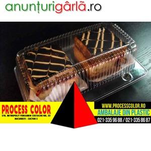 Imagine anunţ Caserole din plastic doua compartimente prajituri ciocolata Process Color