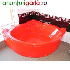 Imagine anunţ cazi de baie colt colorate-cada rosie colt