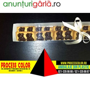 Imagine anunţ Cutii carton biscuiti ursulet ciocolata Process Color