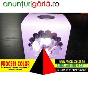 Imagine anunţ Cutii carton colorat cu fereastra plastic Process Color