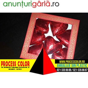 Imagine anunţ Cutii carton cu fereastra ciocolata inimioare Process Color
