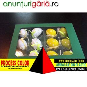 Imagine anunţ Cutii carton colorat cu fereastra oua incondeiate Process Color