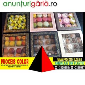 Imagine anunţ Cutii din carton cu fereastra bomboane Process Color