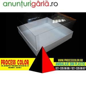Imagine anunţ Cutii carton cu capac din plastic pentru torturi Process Color