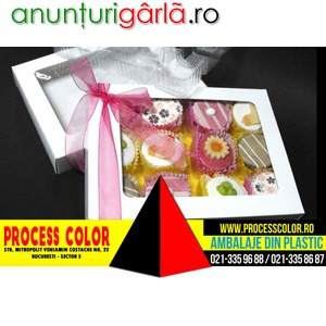 Imagine anunţ Cutii carton cu fereastra petits fours Process Color