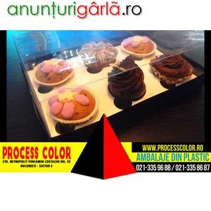 Imagine anunţ Cutii plastic cu insert 6 muffins, cutii briose, cutii cupcakes Process Color
