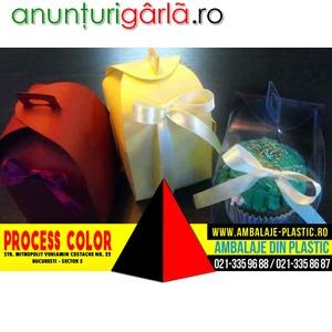 Imagine anunţ Cutii carton colorat pentru marturii Process Color