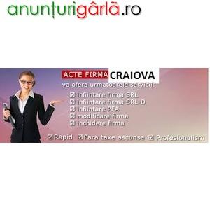 Imagine anunţ Infiintare, acte firma Craiova la Registrul Comertului Craiova, Dolj