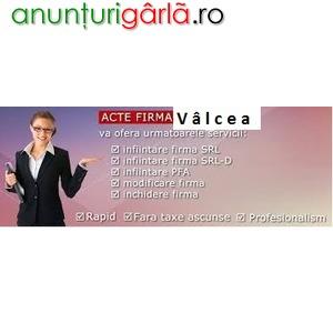 Imagine anunţ Infiintare, acte firma Râmnicu Vâlcea Registrul Comertului Vâlcea