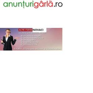 Imagine anunţ Infiintare firma Novaci la Registrul Comertului Targu Jiu