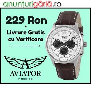 Imagine anunţ www⚫autenticshop⚫ro Ceas de Mana Barbat AVIATOR Nou Cutie Cadou Cronograf Subacvatic Smart