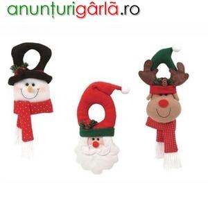 Imagine anunţ Om de zapada, Mos Craciun si Ren - decoratiuni pentru usa, sticla, cadouri, aranjamente
