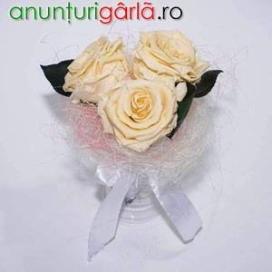 Imagine anunţ Buchet cununie cu 3 trandafiri criogenati XL (Ø 6,5 cm) - REDUCERE 40 %