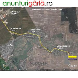 Imagine anunţ Vînd 1000mp intravilan, Dragomirești-Vale, utilități, 14km Pța Romană
